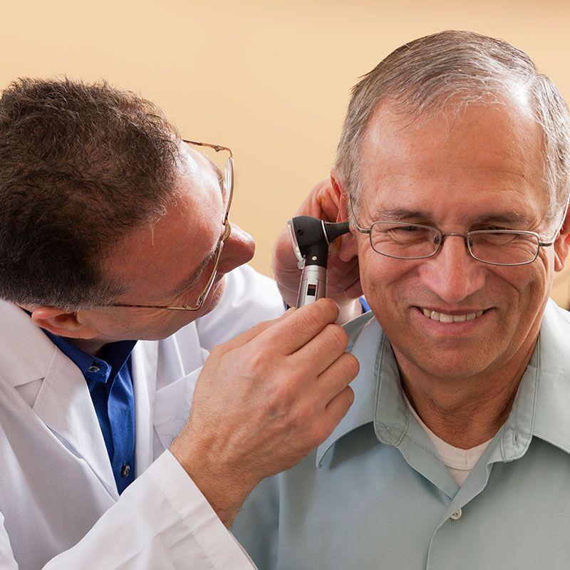 Man receiving hearing test
